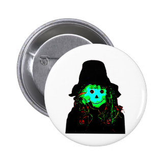 Halloween Scarecrow Cyan The MUSEUM Zazzle Gifts 2 Inch Round Button