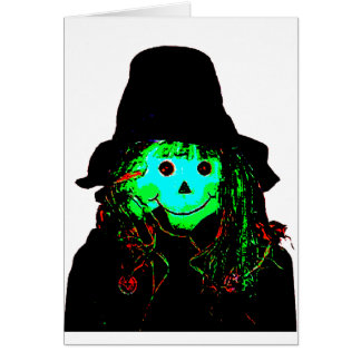 Halloween Scarecrow Cyan The MUSEUM Zazzle Gifts Greeting Card