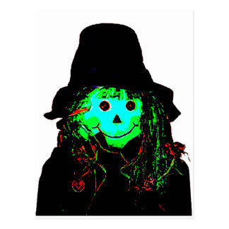 Halloween Scarecrow Cyan The MUSEUM Zazzle Gifts Postcard