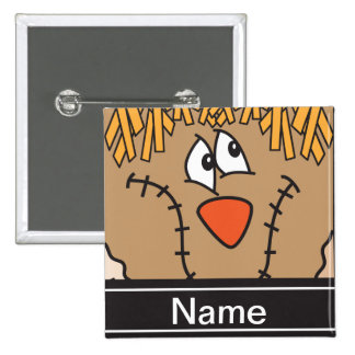Halloween Scarecrow Face Personalize Button