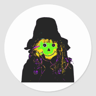 Halloween Scarecrow Green The MUSEUM Zazzle Gifts Classic Round Sticker