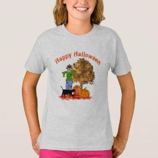 Halloween Scarecrow Jack O Lantern and Black Cat T-Shirt