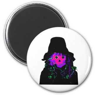 Halloween Scarecrow Magenta The MUSEUM Zazzle Gift 2 Inch Round Magnet