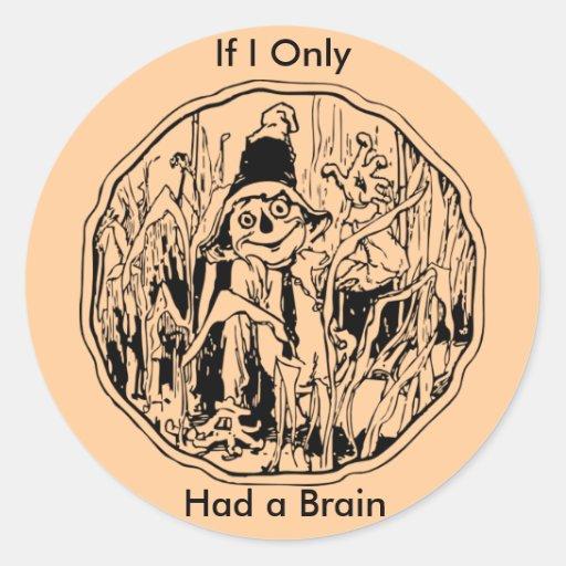 Halloween Scarecrow No Brain Sticker Round Sticker