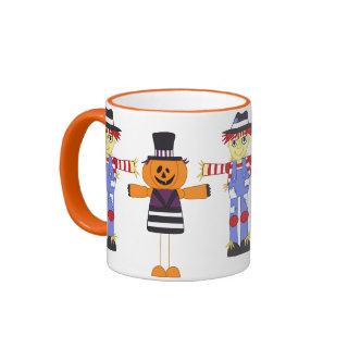 Halloween Scarecrow & Pumpkin Mugs