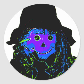 Halloween Scarecrow Purple The MUSEUM Zazzle Gifts Classic Round Sticker