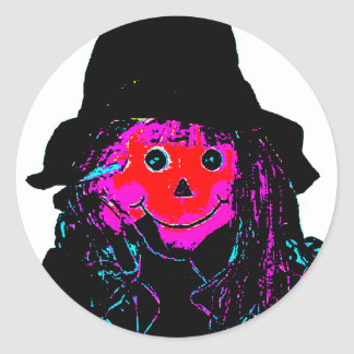 Halloween Scarecrow Red The MUSEUM Zazzle Gifts Classic Round Sticker