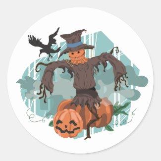 Halloween Scarecrow Scene Classic Round Sticker