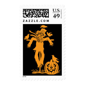 Halloween Scarecrow Silhouette Postage Stamp
