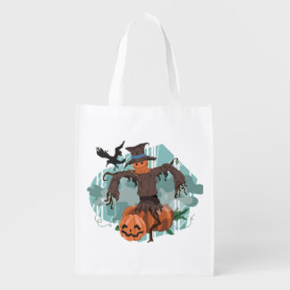 Halloween Scarecrow Trick or Treat Grocery Bag