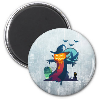 Halloween Scarecrow With Bats Crow And Owl 2 Inch Round Magnet