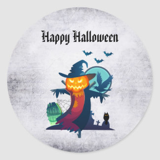 Halloween Scarecrow With Bats Crow And Owl Classic Round Sticker