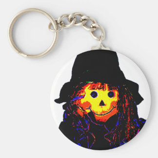 Halloween Scarecrow Yellow The MUSEUM Zazzle Gifts Basic Round Button Keychain