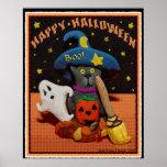 Halloween Scared Cat Art Poster