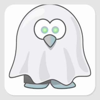 Halloween - Scared  Little Ghost Square Sticker