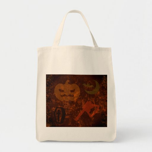 Halloween Scares on Eerie Background Grocery Tote Bag
