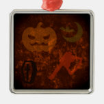 Halloween Scares on Eerie Background Christmas Tree Ornament