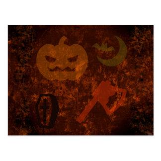 Halloween Scares on Eerie Background Postcard