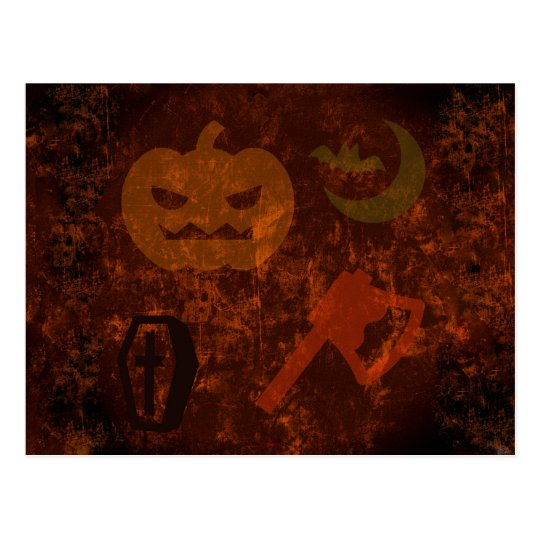 Halloween Scares on Eerie Background Postcard