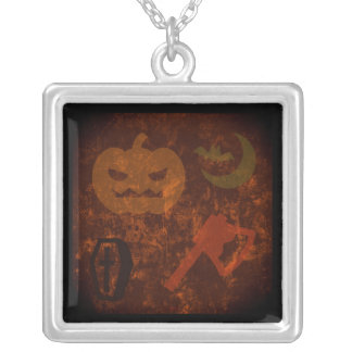 Halloween Scares on Eerie Background Silver Plated Necklace