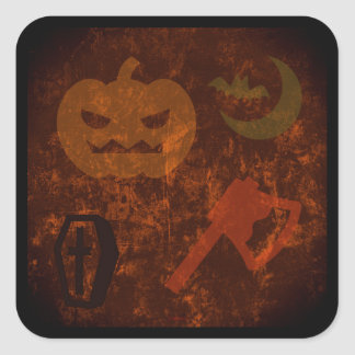 Halloween Scares on Eerie Background Square Stickers