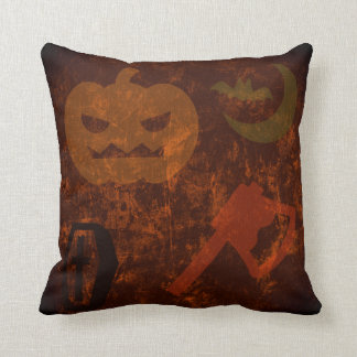 Halloween Scares on Eerie Background Throw Pillow