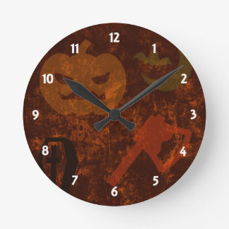 Halloween Scares on Eerie Background Wall Clock