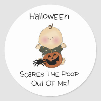Halloween Scares The Poop Out Of Me Classic Round Sticker