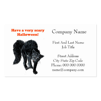 Halloween Scary Black Cat Cartoon Drawing Double-Sided Standard Business Cards (Pack Of 100)