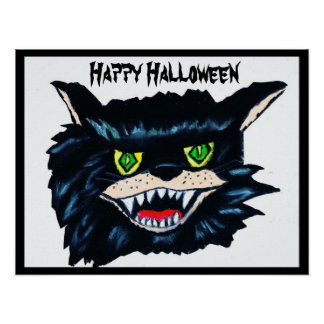HALLOWEEN SCARY BLACK CAT poster