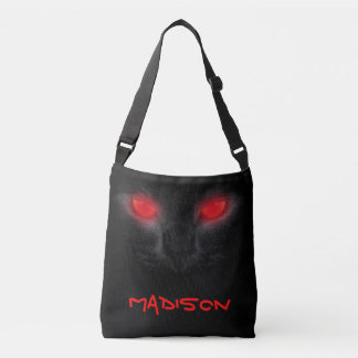 Halloween Scary Black Cat Red Glowing Eyes Tote