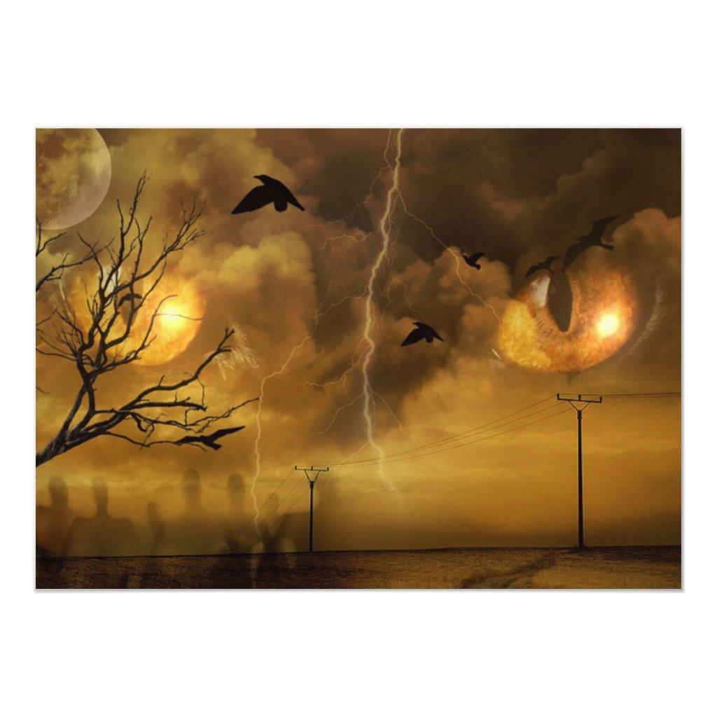 Halloween Scary Cat Eyes Party Invitation