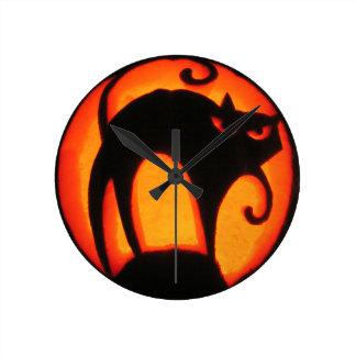 Halloween Scary Cat Jack-O-Lantern Round Clock