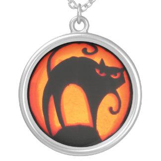 Halloween Scary Cat Jack-O-Lantern Round Pendant Necklace