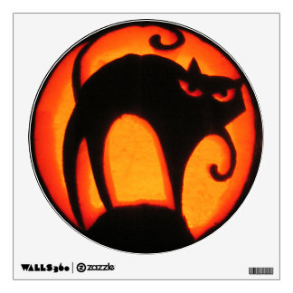 Halloween Scary Cat Jack-O-Lantern Wall Sticker