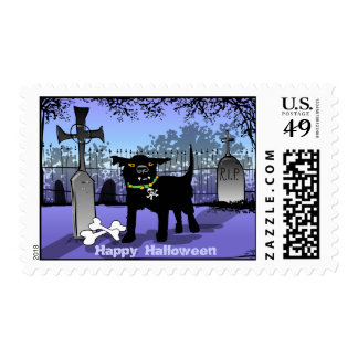 Halloween Scary Dog in Graveyard Postage