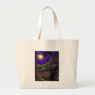 Halloween Scary Funny Cat Ghosts Creationarts Large Tote Bag