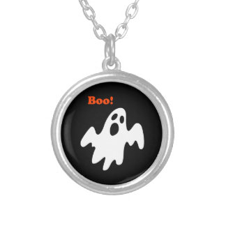 Halloween Scary Ghost Says Boo Silver Plated Necklace