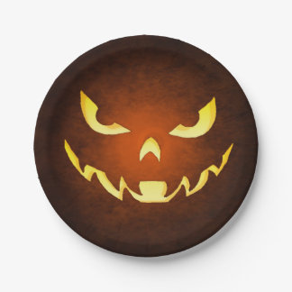 Halloween Scary Goblin Orange Plate