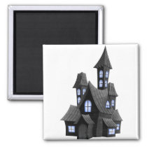 Halloween_Scary_House_Transparent_PNG_Image Magnet