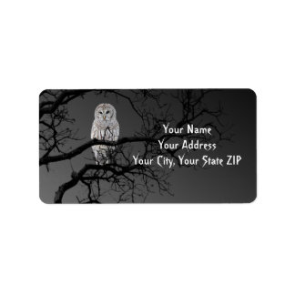 Halloween Scary Owl in a Tree Address Label