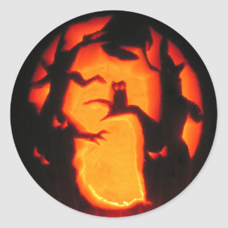 Halloween Scary Owl in Trees Classic Round Sticker