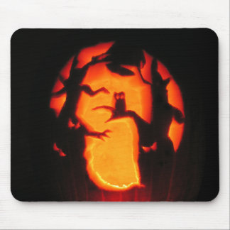 Halloween Scary Owl in Trees Mouse Pad