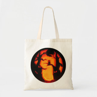 Halloween Scary Owl in Trees Tote Bag