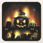 """Halloween - Scary Pumpkins w/Hat All Options Square Paper Coaster<br><div class=""""desc"""">Halloween - Scary Pumpkins w/Hat All Options - Paper Coasters - Choose your shape - Coordinating Paper Goods are available in our Store</div>"""