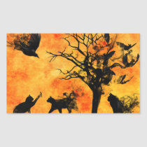 Halloween Scary Scene 10 Blk Cats Bats Ravens Rectangular Sticker