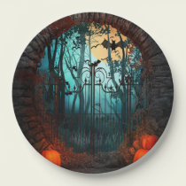 Halloween Scary Scene (2) Both Sizes Paper Plate