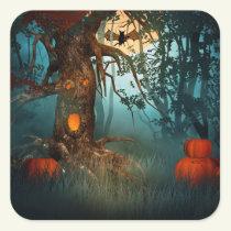 Halloween Scary Scene (3) - Customize Square Sticker
