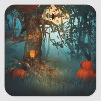 Halloween Scary Scene (3) - Customize Square Sticker