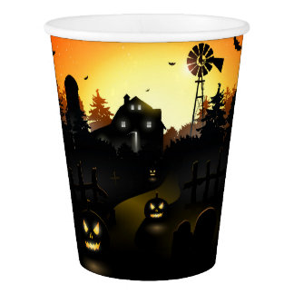 Halloween - Scary Scene 4 Windmill Paper Cup
